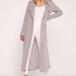 Missguided Tie Choker Basic Duster Coat Grey